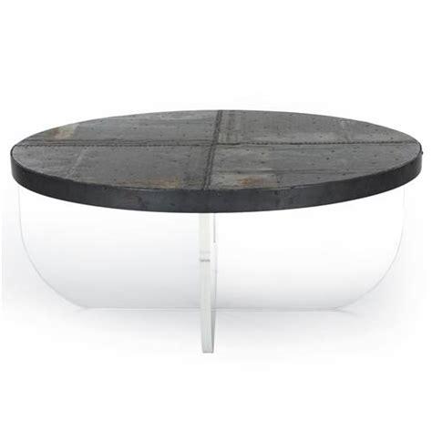 Blaine Modern Acrylic Zinc Top Round Coffee Table Kathy