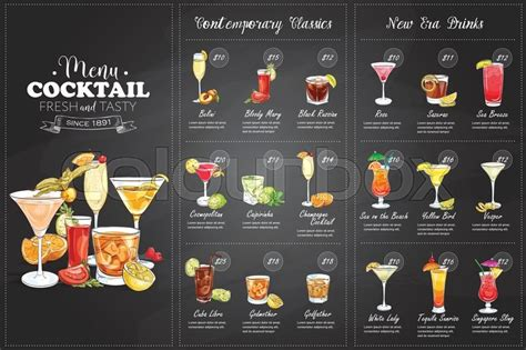 cocktail menu front drawing horisontal cocktail menu design on blackboard background stock vector colourbox