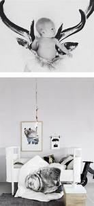 Chambre Bebe Design Scandinave : bb sur linge de lit photo cerf et dcoration style nordique with chambre bebe design scandinave ~ Teatrodelosmanantiales.com Idées de Décoration