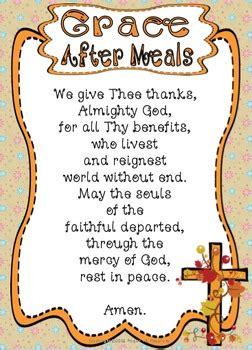 grace  meals prayer posters worksheets
