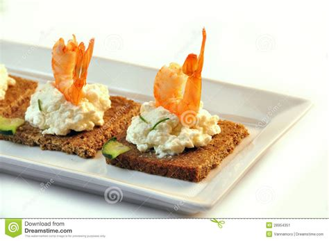 rye bread canapes canapes rye bread with ricotta cheese and tails of shrimps stock image image 28954351