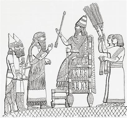 Sennacherib Throne King Assyrian Drawing Bridgeman Before