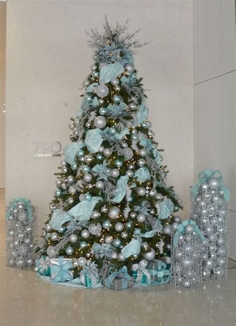 tiffany blue  silver decorated christmas tree