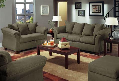 olive microfiber modern sofa with blue grey walls living