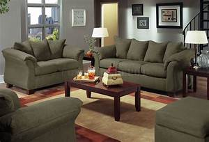 Olive microfiber modern sofa with blue grey walls living for Living room furniture to match grey walls