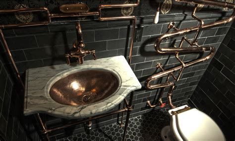 Fireplace Tiles Ideas by Steampunk Bathroom