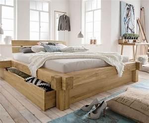 Bett Mit Stauraum 180x200 : designer balkenbett mit schubkasten echtholz wildeiche doba ~ Frokenaadalensverden.com Haus und Dekorationen