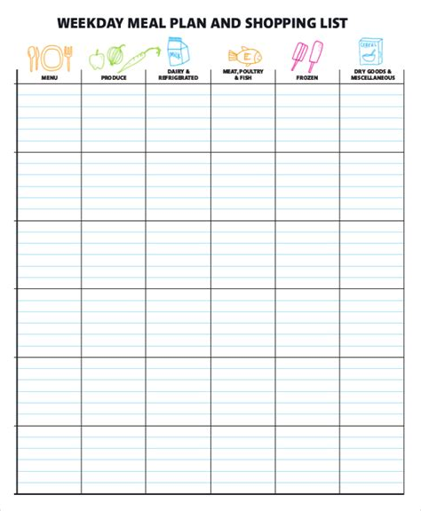 Meal Planner Template Word by Meal Planner Template Word Planner Template Free
