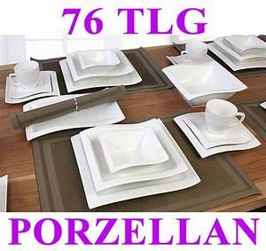 Geschirr Villa Noblesse : porzellan 52 76 tlg tafelservice eckig teller set geschirr ~ Markanthonyermac.com Haus und Dekorationen