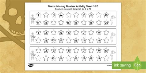 new pirate missing number 1 20 activity sheet