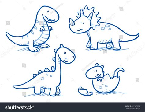 Cute Little Cartoon Dinosaur Babies Children Stock Vector
