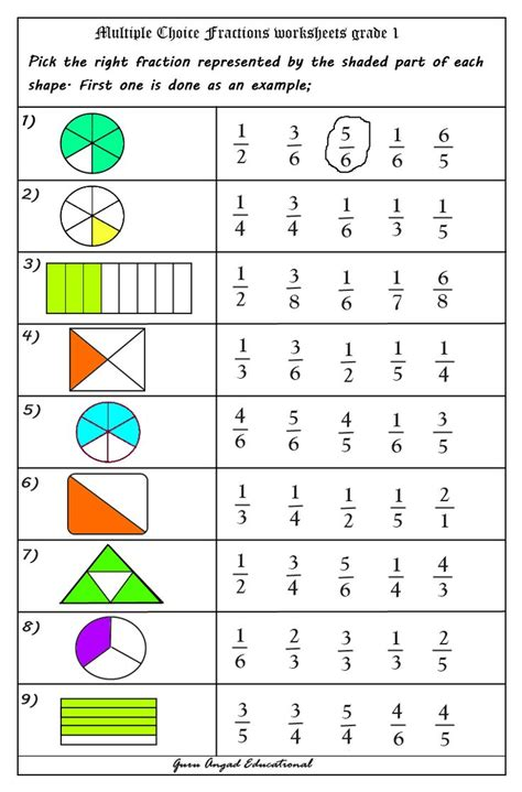 use of choice questions in fractions worksheets