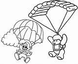Parachute Coloring Cartoon Pages Favourite Children Fun sketch template