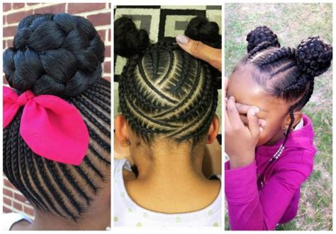 braided cornrows with buns for little black girls