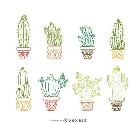 cactus outline drawings set vector