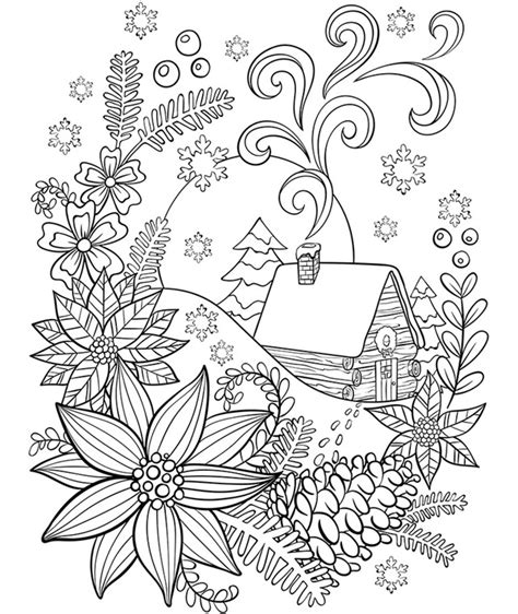 cabin in the snow coloring page crayola com
