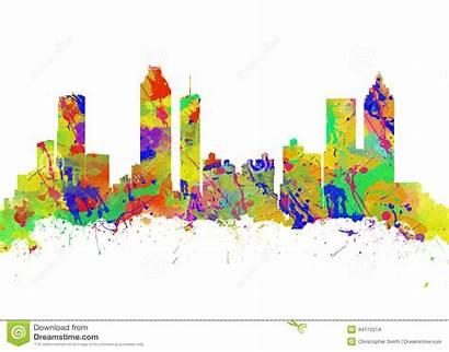 Atlanta Skyline Usa Georgia Watercolor