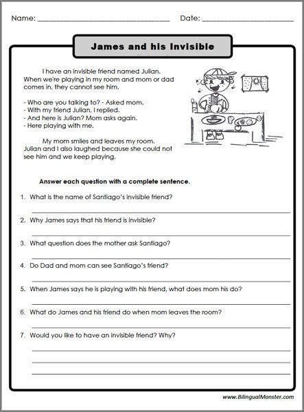 reading comprehension worksheets  graders