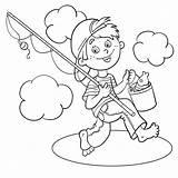Coloring Outline Boy Cartoon Fisherman Fishing Pole Pescatore Colorare Pagina Ragazzo Visser Catch Pesca Colorear Barefoot Dibujos Pescador Rod Karikatur sketch template