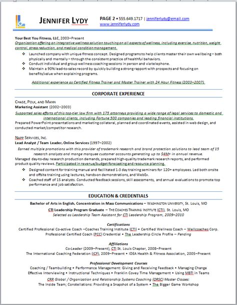 Resume Results Exles by Executive Resume Out Of Darkness