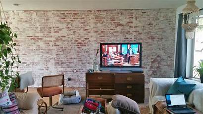 German Schmear Living Brick Faux Wall Makeover