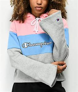 Light Grey Tops Womens Champion Pullover Pink Womens Champion Pink Blue