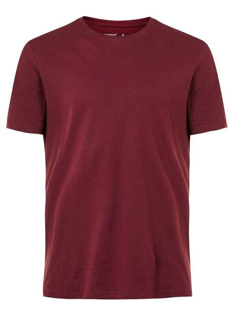 t shirt burgundy crew neck t shirt topman