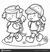Walking Walk Children Coloring Vector Outline Students Illustration Boy Pages Student Clip Illustrations Printable Clipart Cartoon Activity Hd sketch template