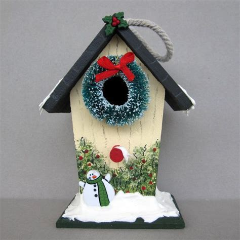 christmas birdhouse decoration bird houses pinterest