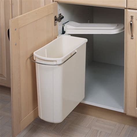 in cabinet trash cans for the kitchen rev a shelf single pivot out trash 20 litre white 8 700411 9617