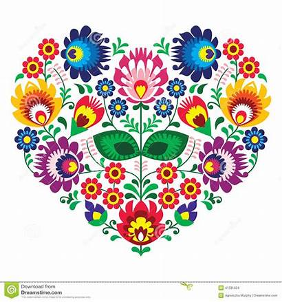 Embroidery Flowers Polish Heart Patterns Traditional Paper