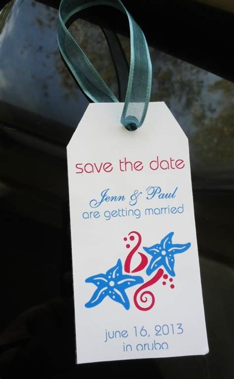 save  date destination weddings luggage tag template