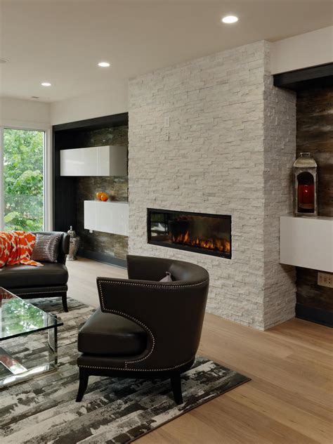 Modern Living Room With Fireplace Ideas by Modern Living Room With White Brick Fireplace Hgtv