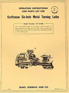 Craftsman  Atlas 6 U0026quot  Metal Lathe 101 21400 Instructions