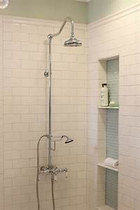 Stucco Shower With Gold Vintage Exposed Plumbing Shower