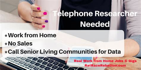 work from home sales work from home telephone researcher no sales real work from home jobs by rat race rebellion