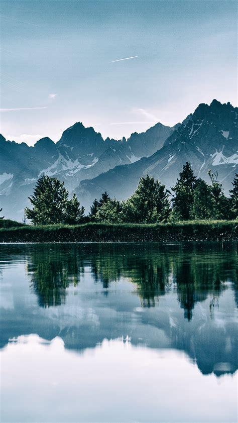 wallpaper mountain lake trees  nature