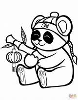 Panda Coloring Cute Bamboo Pages Printable Lantern Drawing Cartoon Giant Preschoolers Paper Animals Books Preschool Bears Supercoloring sketch template