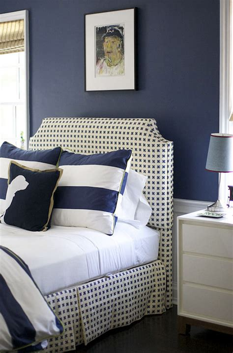 Navy Blue And White Bedroom by Shingle Cottage With Coastal Interiors Home Bunch