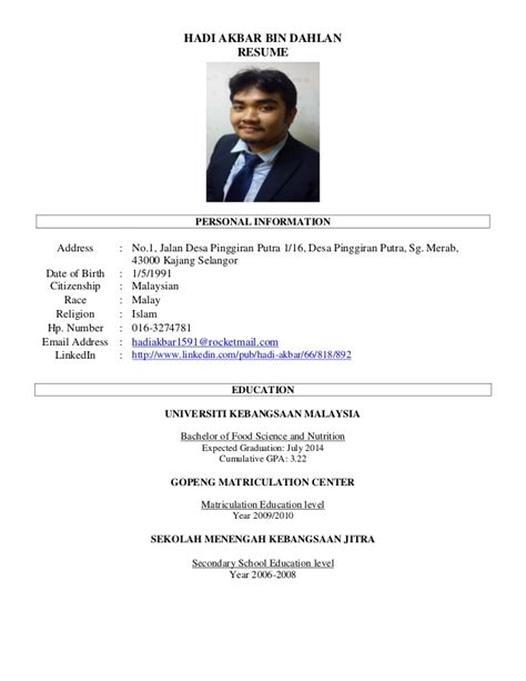 curriculum vitae format malaysia resume hadi 2014