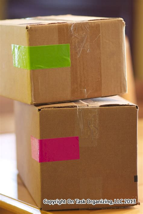 Color Code Moving Boxes With Duct Tape  On Task Organizing