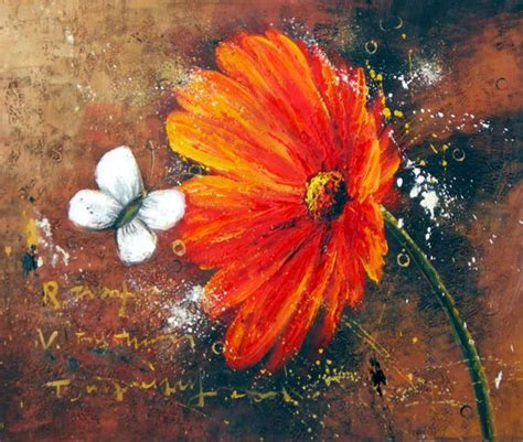 peinture moderne abstraite fleurs peinture moderne marguerite orange tableau fleurs marguerites peinture abstraite