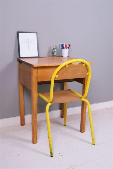 Children's Vintage Single Wooden School Desk With Lift Up