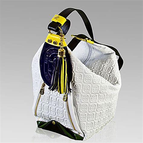 marino orlandi designer white monogram leather sling bucket purse bag monogrammed leather