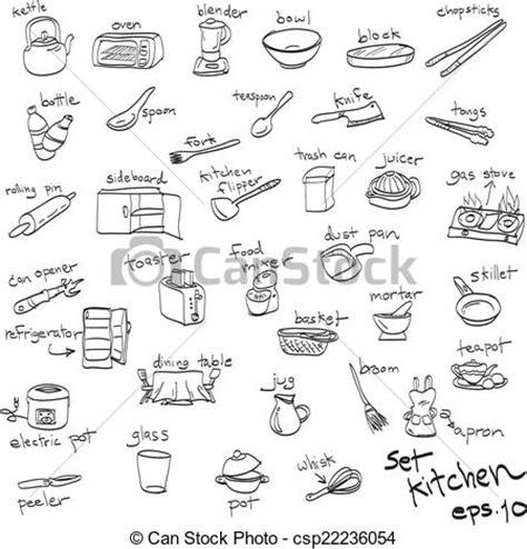 objets de cuisine vecteur clipart de ensemble cuisine objets