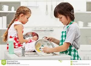 Grumpy Kids Doing Home Chores - Washing Dishes Royalty ...