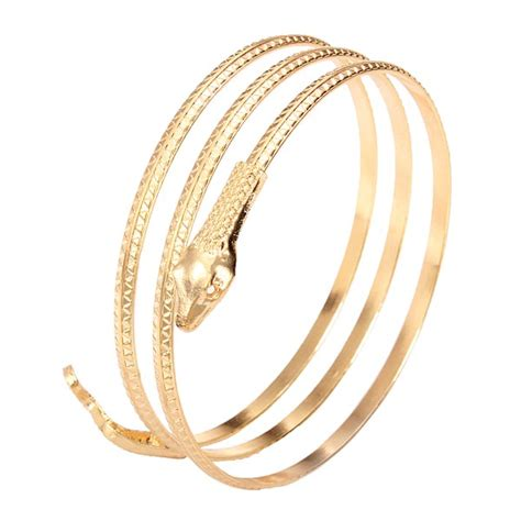 new arrival fashion style gold plated alloy snake shape vintage gold plated alloy snake wrap bracelet bangle for