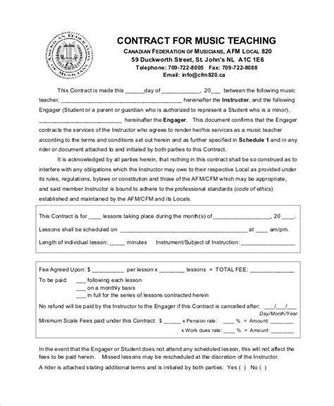 teacher agreement contract samples word