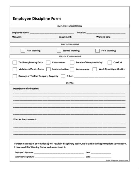 employee discipline form template free sle employee discipline form 10 exles in pdf word