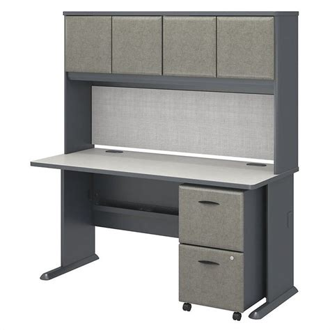 bush business series a 60 quot desk with hutch in slate white